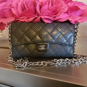 SALE AUTHENTIC Chanel Perforated Chain Wallet